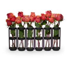 6-Tube Hinged Vases, Black