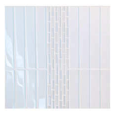 Super White Glossy Subway Glass Tile, Box of 35 Sheets