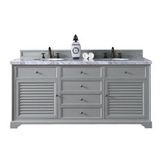 "Savannah 72"" Double Vanity Cabinet, Urban Gray, 3cm Grey Expo Quartz Top"
