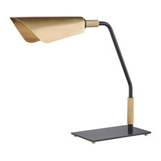 Bowery 1-Light Table Lamp With  Metal Shade, Aged Old Bronze