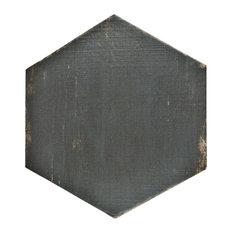 "14.13""x16.25"" Lambris Hex Porcelain Floor/Wall Tiles, Set of 9, Black"