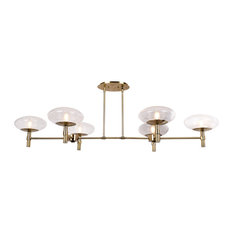 Grand 6-Light Linear Chandelier, Brushed Brass Finish, Clear Glass Shade