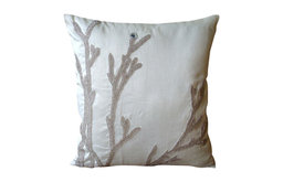 """Handmade White Throw Pillows Cover, 22""""x22"""" Silk Pillow Covers, Silver Willow"""