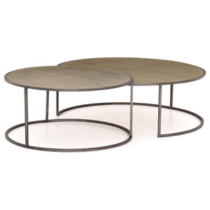 Enjoyable Malona Nesting Coffee Table Antique Brass Clad Industrial Caraccident5 Cool Chair Designs And Ideas Caraccident5Info