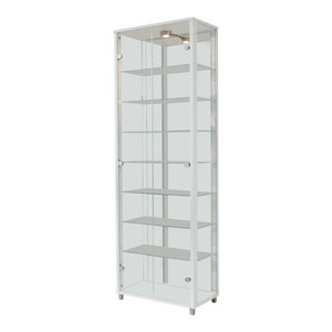 Vitrine Display Cabinet With LED, 2 Door, 7 Shelves, White