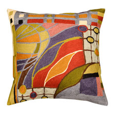 Decorative Pillow Cover Hundertwasser Biomorph II Hand Embroidered Wool 18x18""
