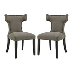 Modway Curve Fabric Dining Side Chairs, Set of 2, Granite