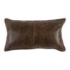 "Kosas Home Cheyenne 100% Leather 14"" x 26"" Throw Pillow, Chocolate Brown"