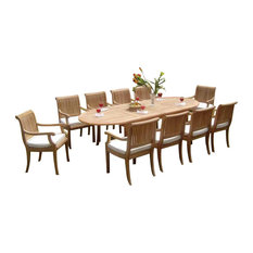 """11-Piece Outdoor Teak Dining Set, 117"""" Extension Oval Table, 10 Giva Arm Chairs"""