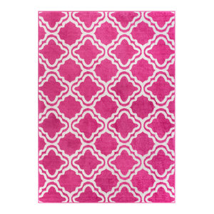 Well Woven Star Bright Pink Area Rug, 5'x7'