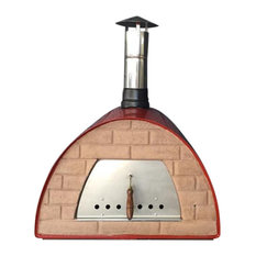 Modern Wood Fire Pizza Oven, Red