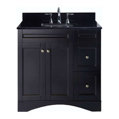 Elise 36-inch Single Bath Vanity Espresso Top Square Sink Polished Chrome Faucet
