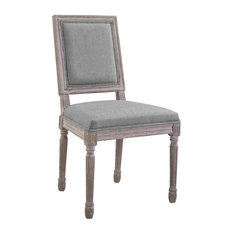 Vintage French Dining Side Chair, Light Gray
