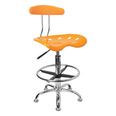 flash furniture vibrant orange yellow and chrome drafting stool with tractor seat office asian office furniture