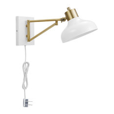 Berkeley 1-Light White and Brass Plug-In or Hardwire Swing Arm Wall Sconce