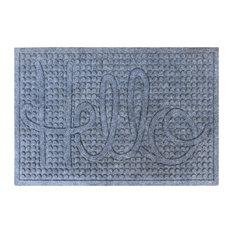 "Hello 24""x36"" Indoor/Outdoor Mat, Anti Slip Fabric Finish, Dark Gray"