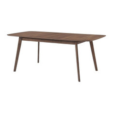 Rectanglular Wooden Dining Table With Round Corners, Walnut Brown