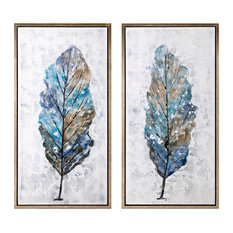 Imax Pinewood And Canvas Set Of 2 Wall Art With Multi-Color Finish A0276352