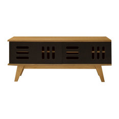 HUH TV Stand With Sliding Doors, Oak and Black