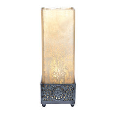 "12.9"" Studio Art Mercury Glass Square Uplight Accent Lamp, Matte Champagne"