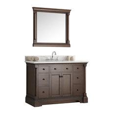 "Fresca Kingston 48"" Antique Coffee Traditional Bathroom Vanity, Mirror"