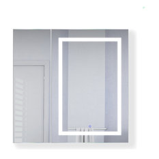 "36""x36"" LED Medicine Cabinet, Dimmer/Defog, Makeup Mirror, and USB, Right Light"