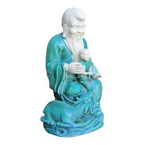 Unique Chinese Green Porcelain Sitting Longevity Man w/Kid Statue