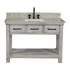 Rustic Single Sink Vanity In With Coastal Sands Marble Top With Rectangular Sink