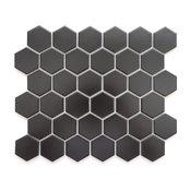 "11.06""x12.8"" Porcelain Mosaic Tile Barcelona Hexagon Matte Black, Set of 10"