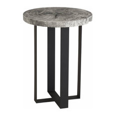 42-inchT Occasional Table Hand Crafted Solid Acacia Wood Blackened Iron Base