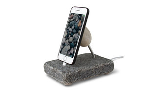 Rock Dock, Natural Stone Charging Stand, Micro Usb Cable