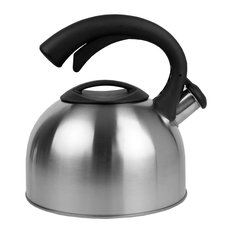 Easy Pour Whistling Brushed Stainless Steel Tea Kettle, Silver, 2.5 Liter