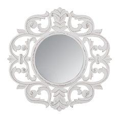 "Alba White Carved Mirror 24"", White, 30 Inch"