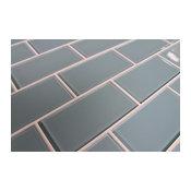 "Jasper Blue Gray 3x6 Glass Subway Tile, 3""x6"" Tiles, Set of 8"