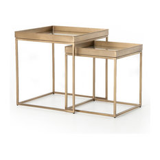24-inch Paola Nightstands Set Of Nightstand Stainless Steel Glass Antique Brass