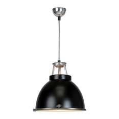 Titan Small Pendant Light With Etched Glass, Black