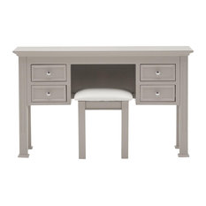 Deauville Pine Wood Taupe Dressing Table With Padded Stool