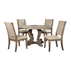 Catonsville Rustic Natural Oak 5-Piece Round Dining Set