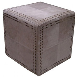 Pachyderme Studded Suede Pouffe, Beige