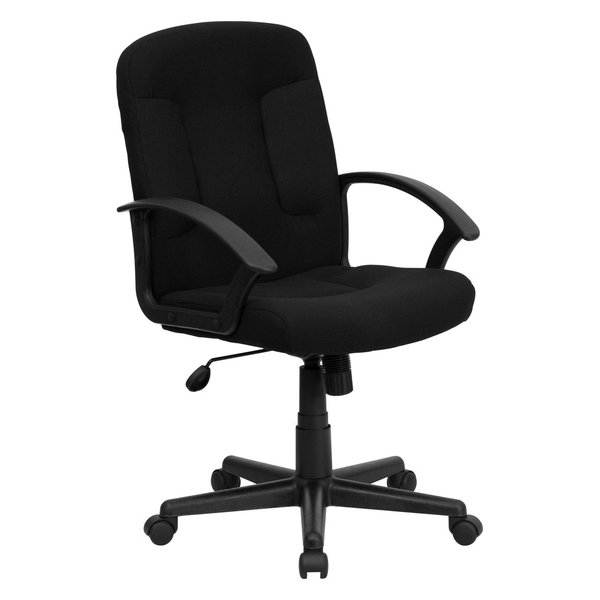 MFO Mid-Back Black Fabric Executive Chair with Nylon Arms