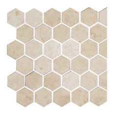 "Honeycomb Hex Polished Mosaic, Crema Nouva, 12""x12"""