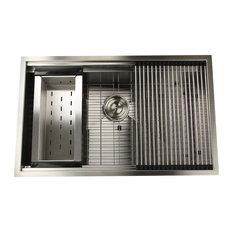 "ZR-PS-3220-16 32"" Pro Series Large Prep Station Kitchen Sink"
