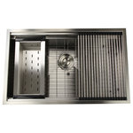 Nantucket Sinks USA - Nantucket Sinks 32'' Pro Series Large Prep Station Single Bowl - Make a statement in the kitchen with the Nantucket 32'' Single-Bowl Prep Sink. Large and well-equipped to take on the tasks you put to it, this sink features a zero-radius design, four accessories (grid, drain, colander and rolling mat) and a stainless steel construction that leaves you with an overall durable and striking sink. The Nantucket aligns with your vision of revamping traditional conventions and pushing the boundaries of design.
