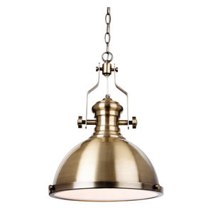 Albion Industrial Pendant, Antique Brass