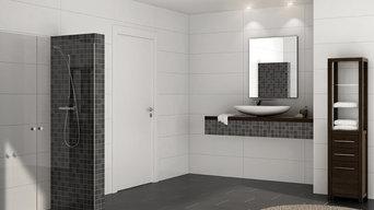 Vægfliser til bad og toilet.
