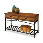 Modern Craftsman Sofa Table, Distressed Oak