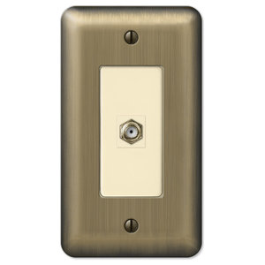 Devon Brushed 1-Coax Wall Plate, Brushed Brass