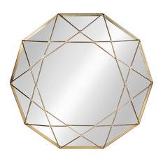 "Keyleigh Metal Accent Wall Mirror, 25"" Diameter, Gold"