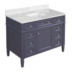 "Hailey 42"" Bathroom Vanity, Base: Charcoal Gray, Carrara Marble"