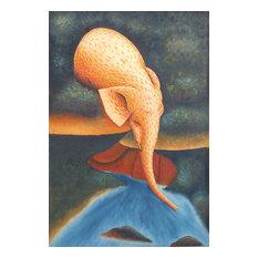 """""""Thirsty elephant"""" Figurative Painting"""